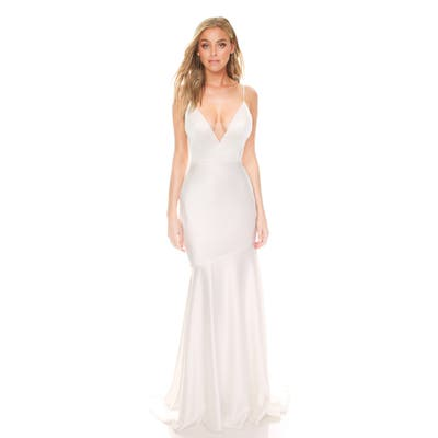 Noel And Jean By Katie May Reflection Bias Cut Satin Wedding Dress, Ivory