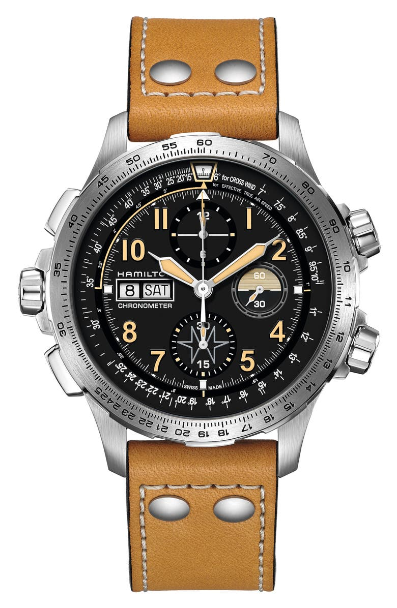 HAMILTON Khaki Aviation X-Wind Automatic Chronograph Leather Strap Watch, 45mm, Main, color, 200