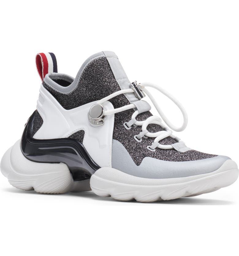 MONCLER Thelma Scarpa Mid Top Bootie Sneaker, Main, color, SILVER/ WHITE/ BLACK