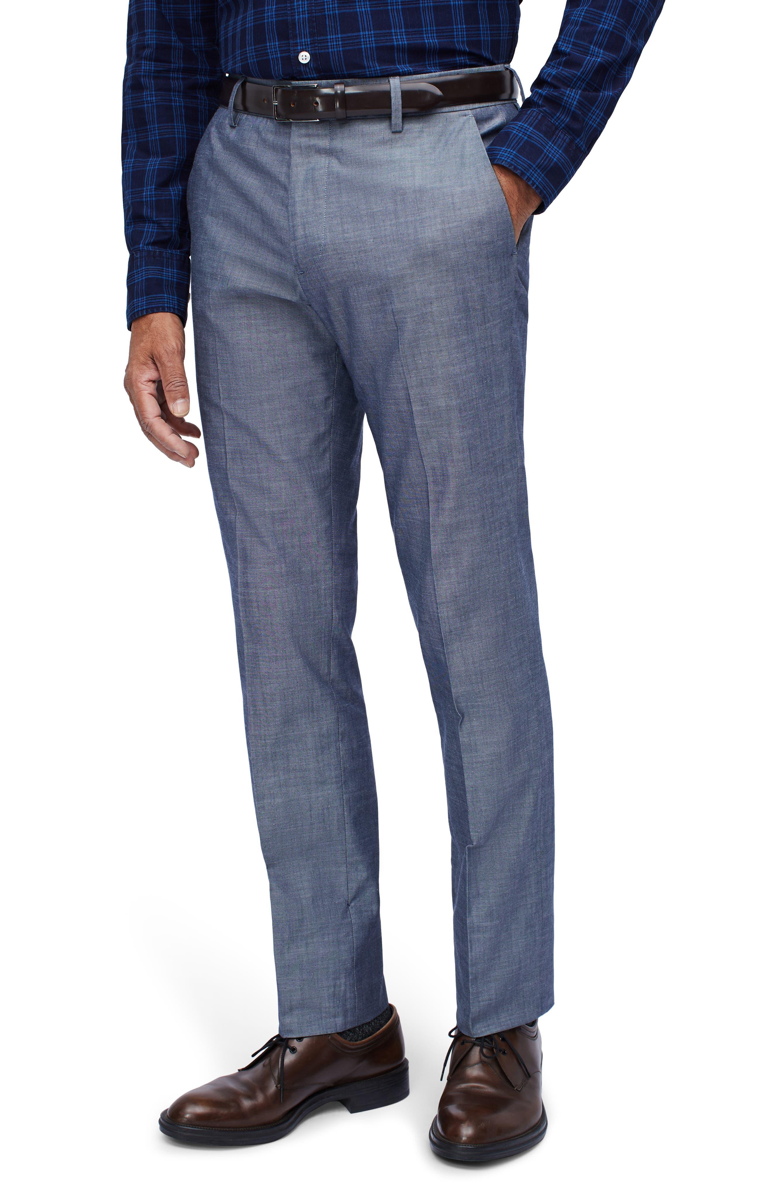 Slim Fit Flat Front Cotton Chambray Pants