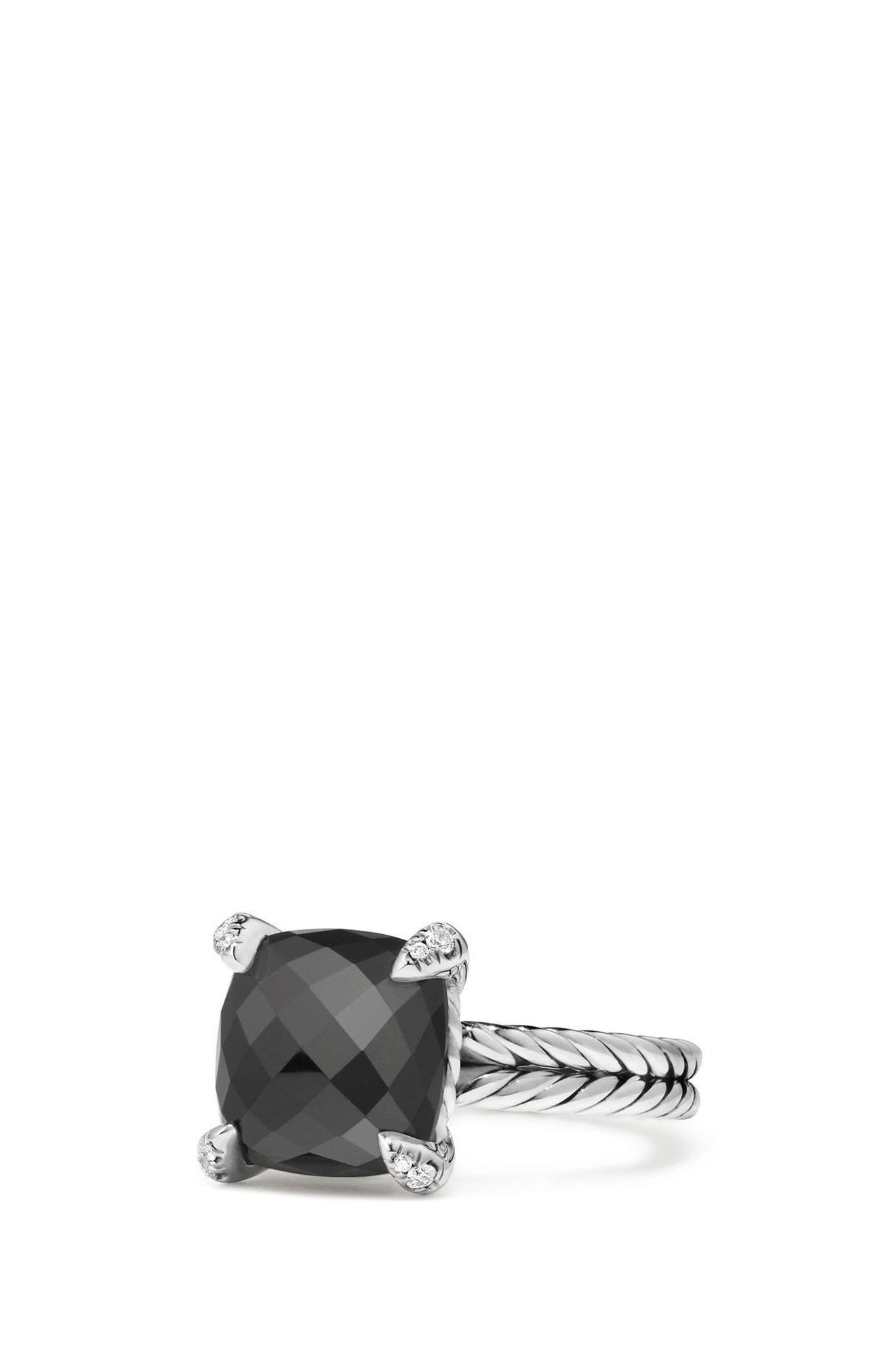 Châtelaine Ring with Semiprecious Stone & Diamonds, Main, color, BLACK ONYX?
