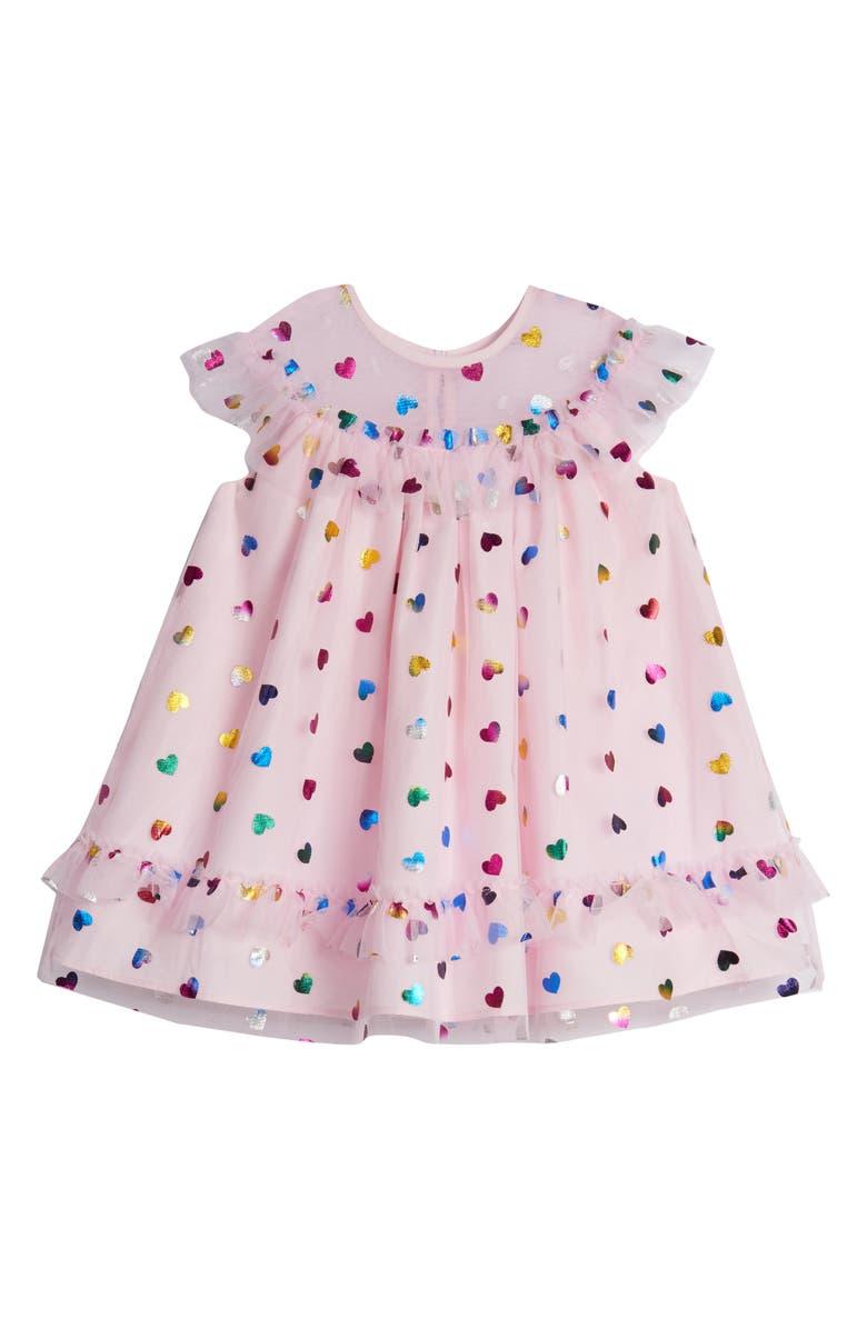 PIPPA & JULIE Foil Hearts Float Tulle Dress, Main, color, PINK