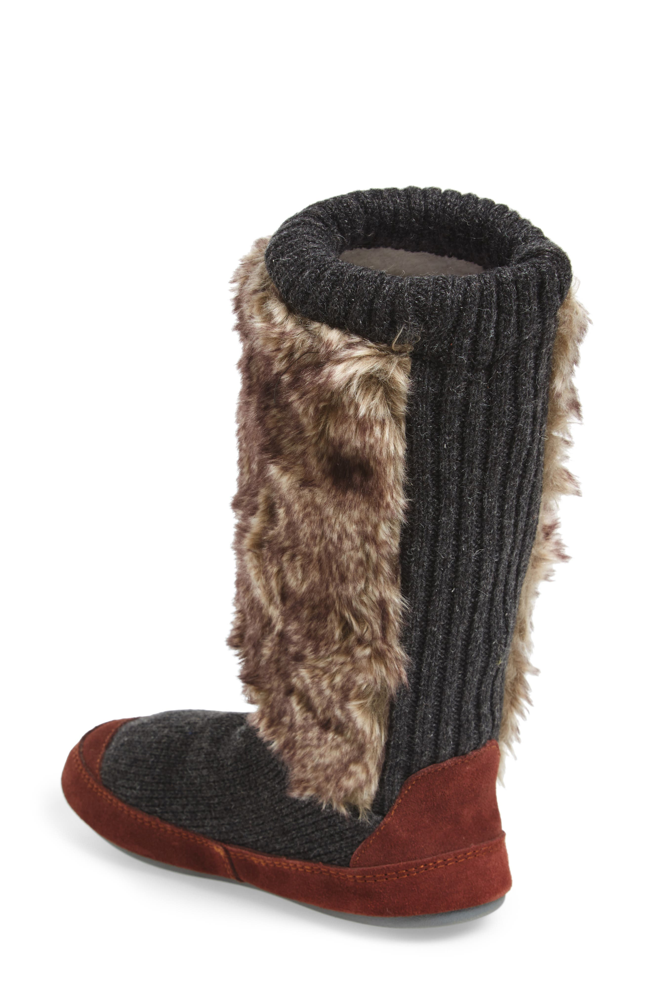 ,                             Slouch Slipper Boot,                             Alternate thumbnail 2, color,                             CHARCOAL FAUX FUR