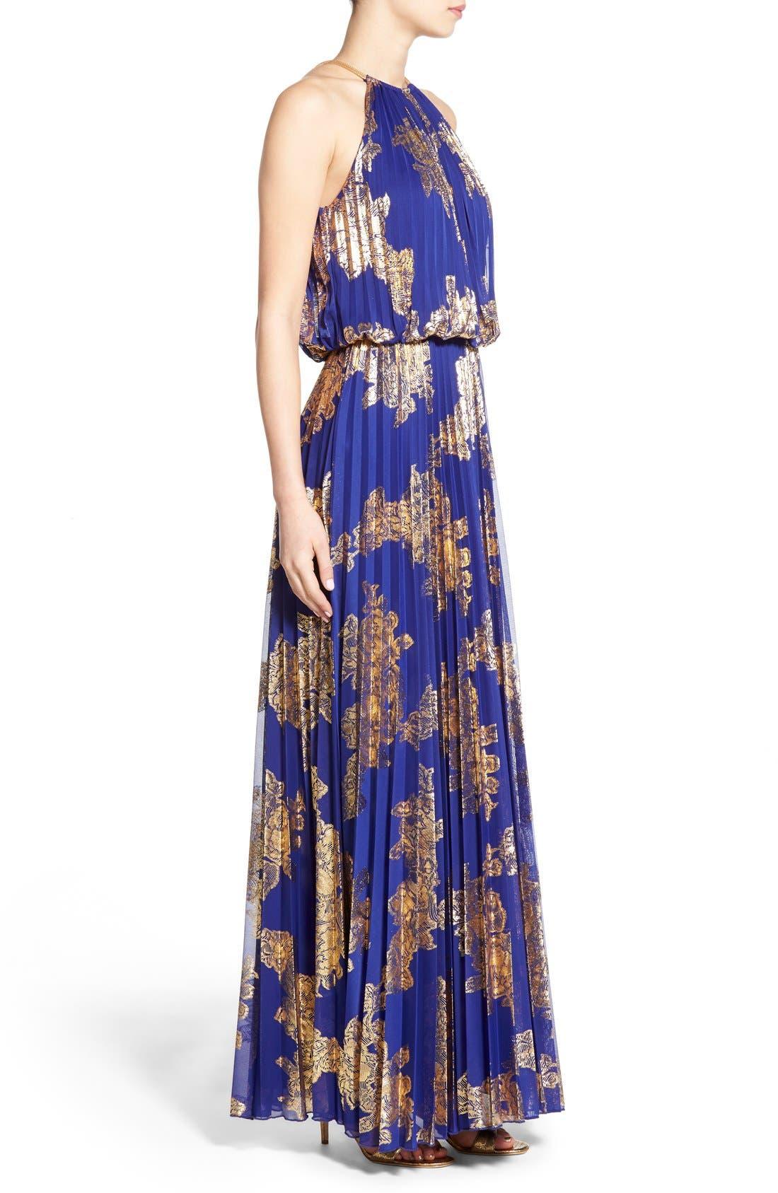 ,                             Foiled Pleated Jersey Blouson Dress,                             Alternate thumbnail 11, color,                             406