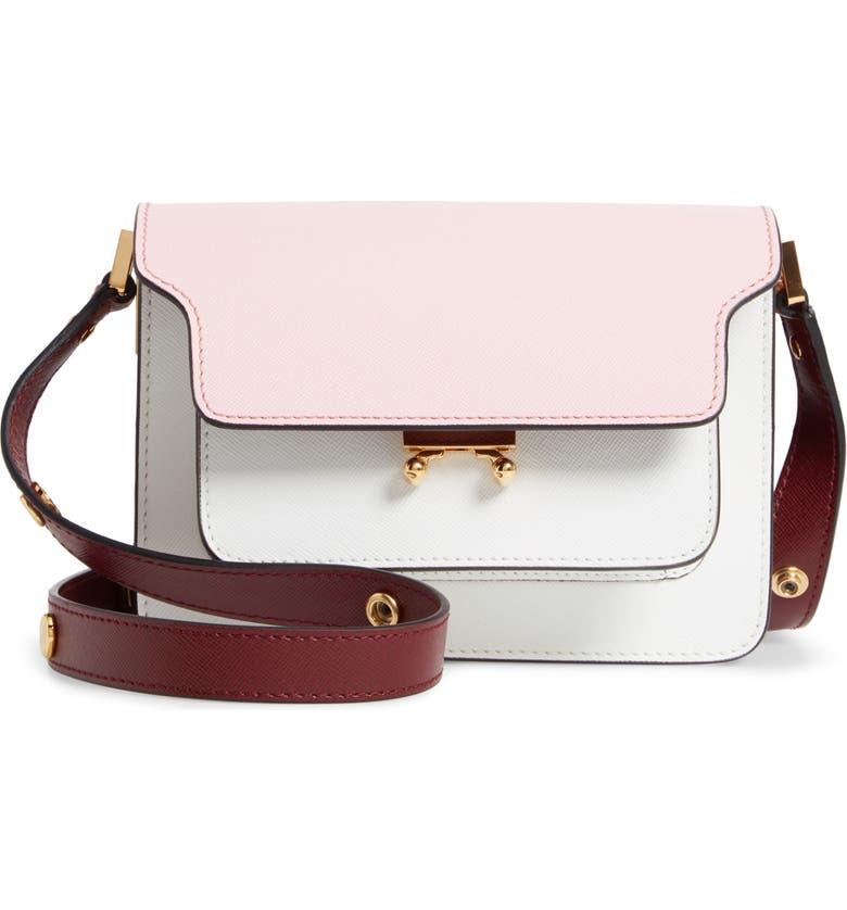 MARNI Small Trunk Colorblock Leather Shoulder Bag, Main, color, CINDER ROSE/ LIMESTONE/ RUBY