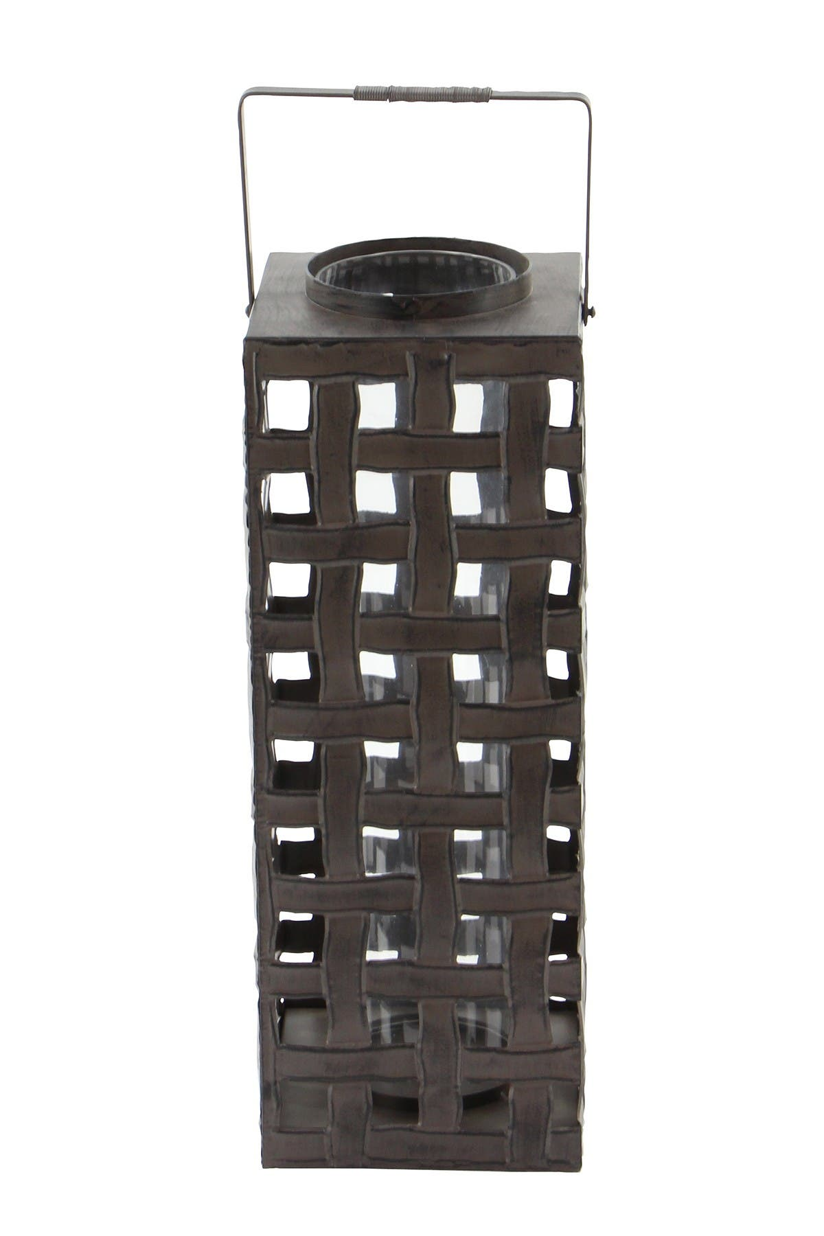 Image of Willow Row Black Iron Industrial Candle Holder Lantern