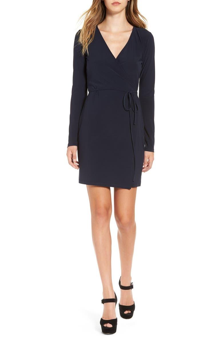LEITH Long Sleeve Wrap Dress, Main, color, 410