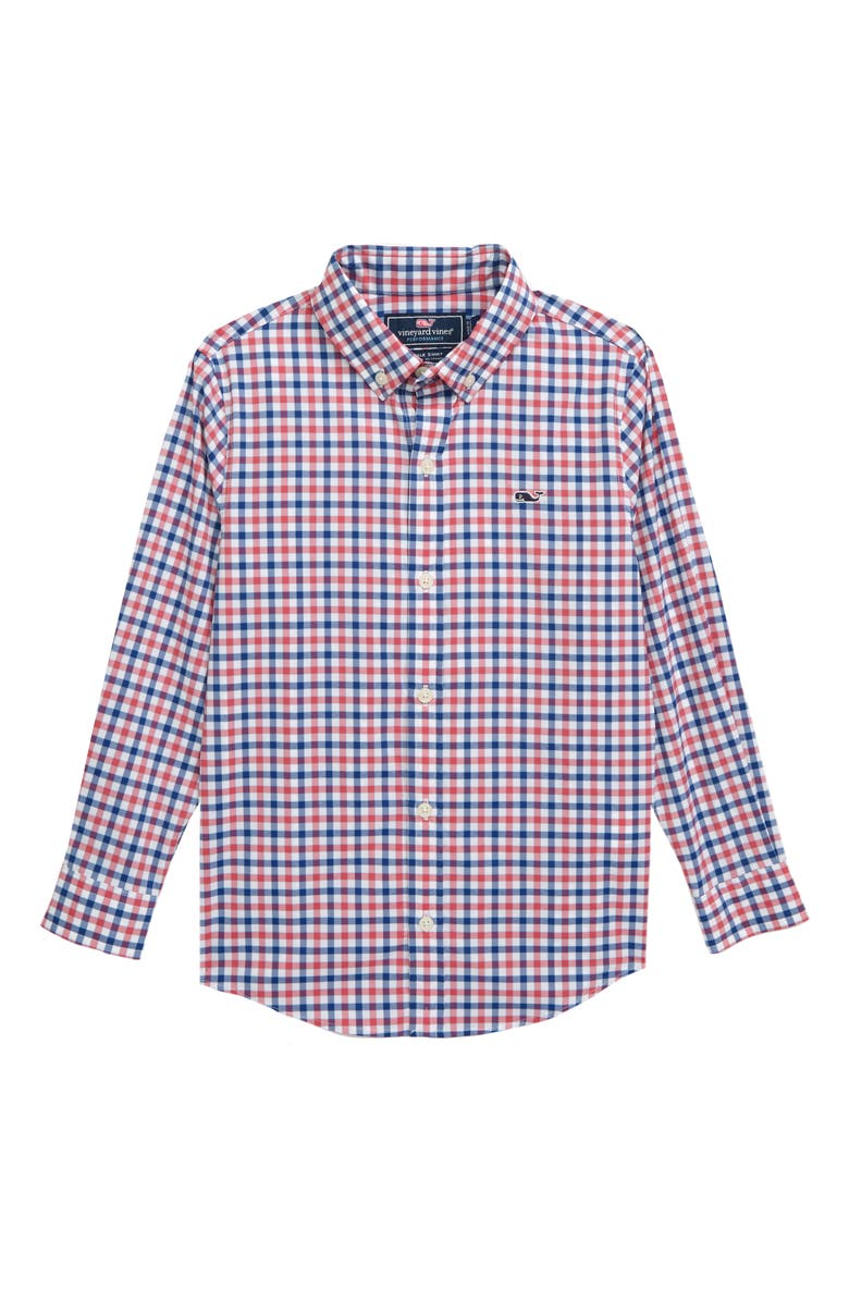 VINEYARD VINES Check Performance Whale Shirt, Main, color, SAILORS RED