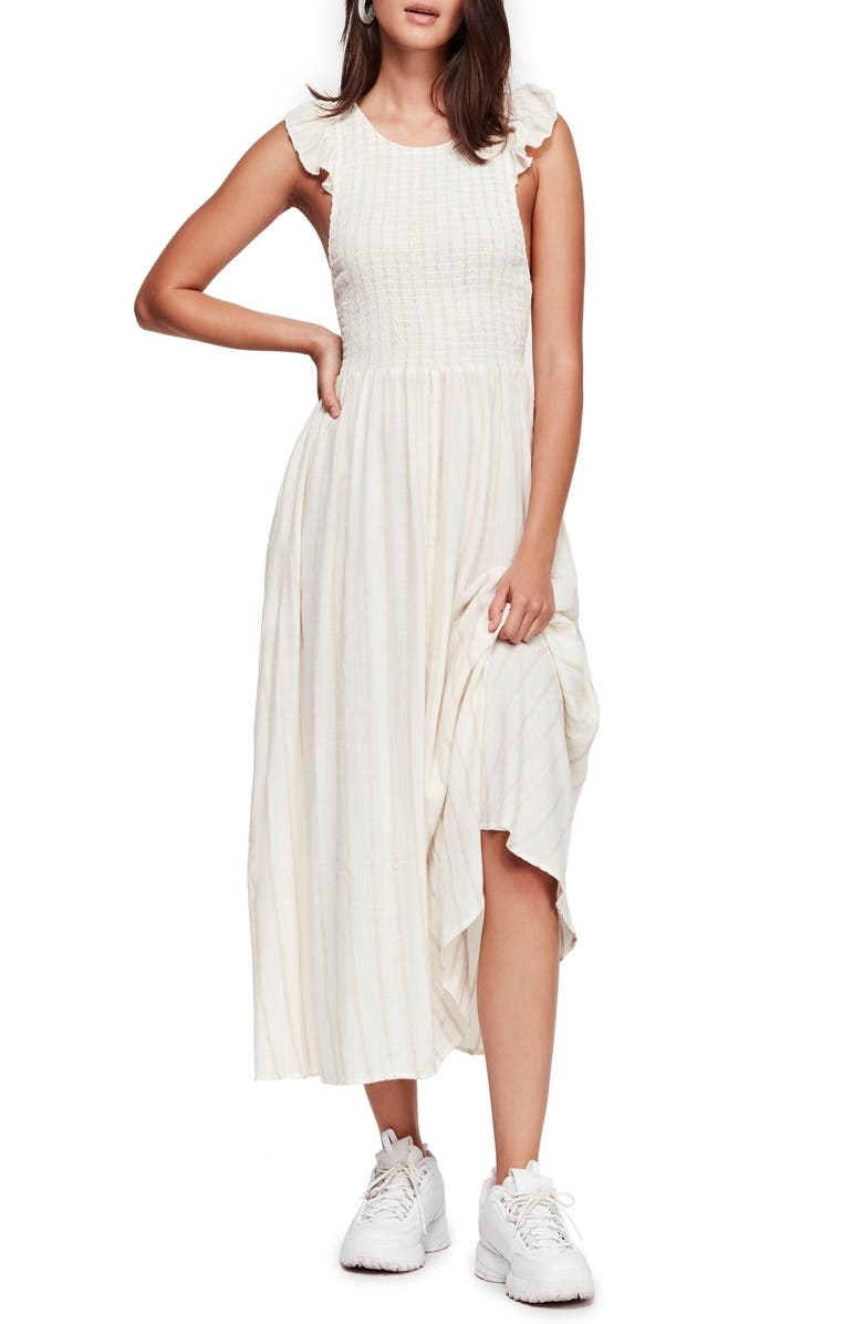 FREE PEOPLE Butterflies Chambray Midi Dress, Main, color, IVORY