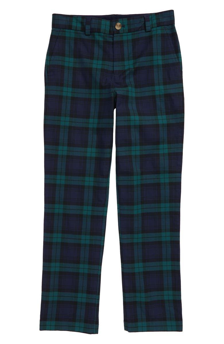 VINEYARD VINES Holiday Plaid Breaker Pants, Main, color, BLUE BLAZER