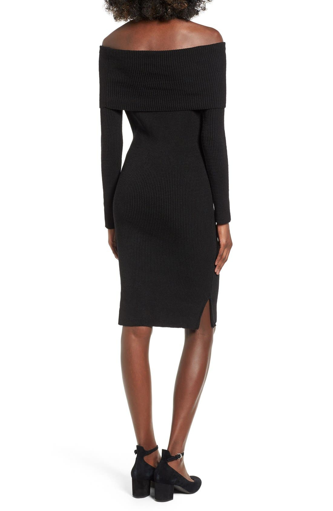 ,                             Off the Shoulder Knit Body-Con Dress,                             Alternate thumbnail 5, color,                             001
