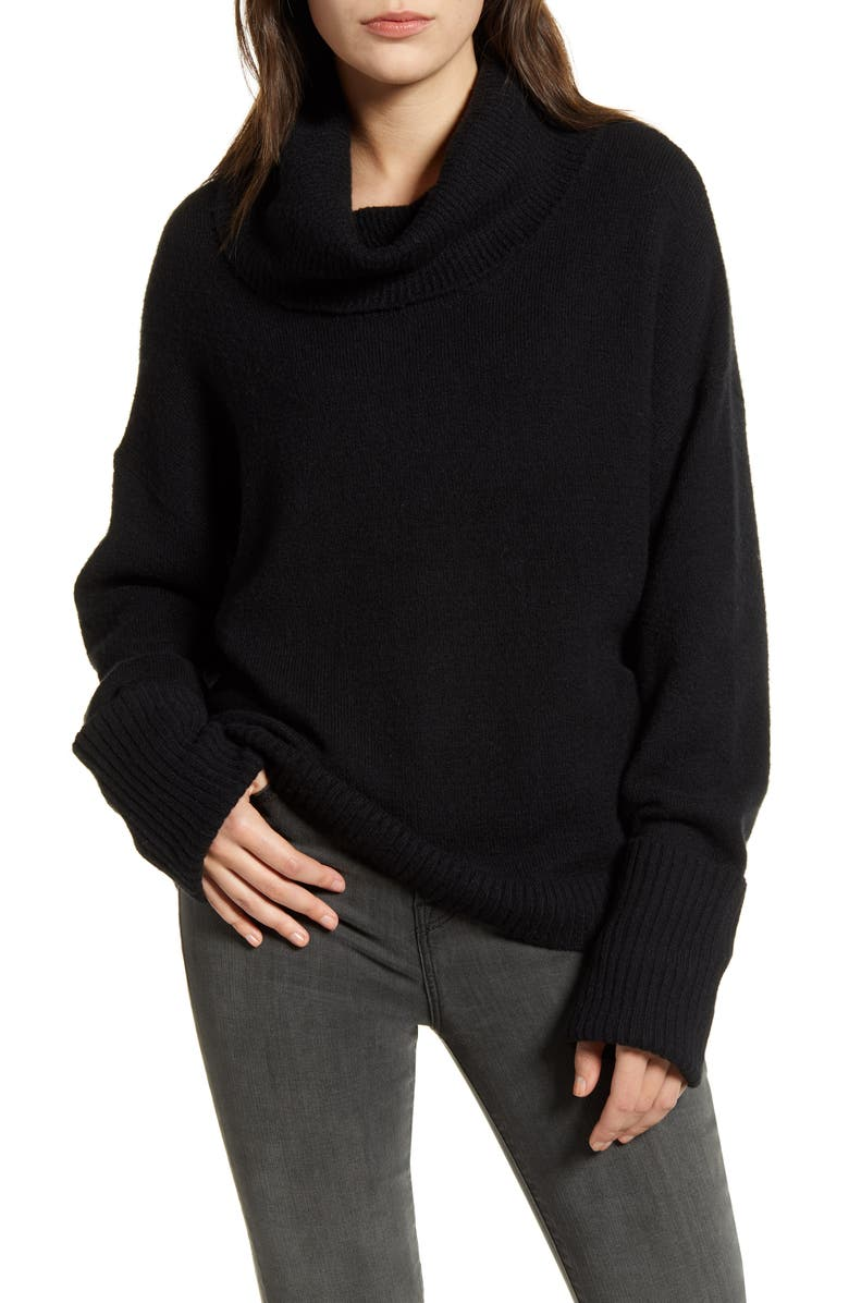 CHELSEA28 Cowl Neck Sweater, Main, color, BLACK