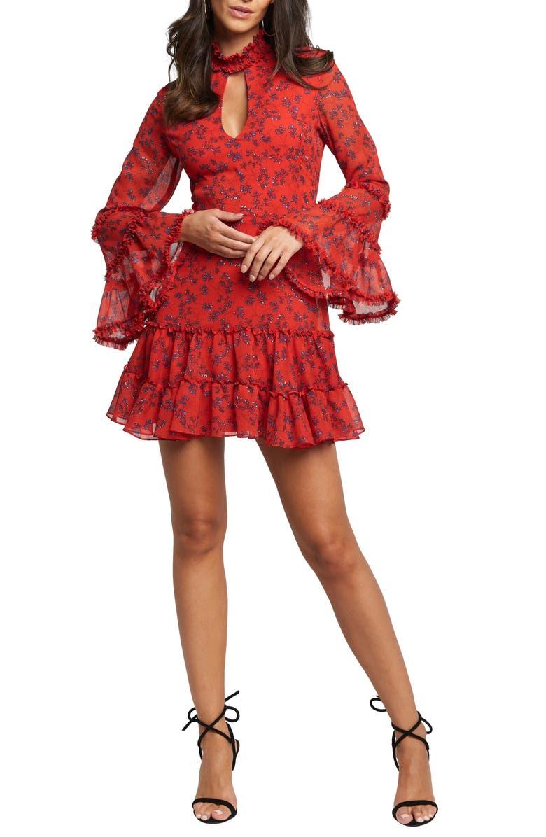BARDOT Sonny Long Sleeve Frill Minidress, Main, color, RED DITSY FLORAL