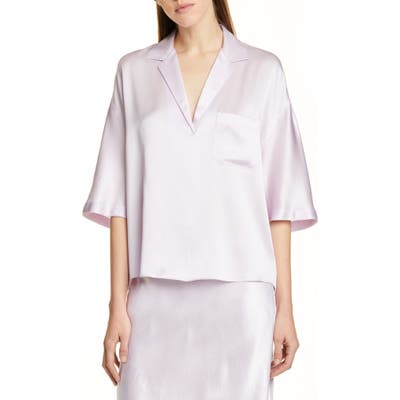 Vince Short Sleeve Silk Pajama Shirt, Purple