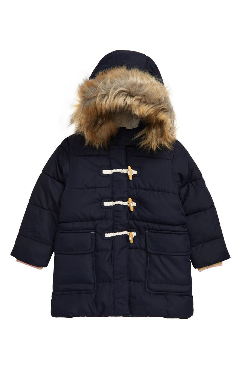 MINI BODEN Longline Padded Jacket with Faux Fur Trim Hood, Main, color, 414