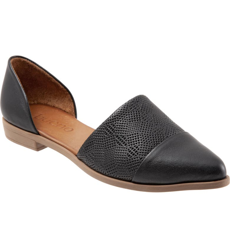 BUENO Bella d'Orsay Flat, Main, color, BLACK LEATHER