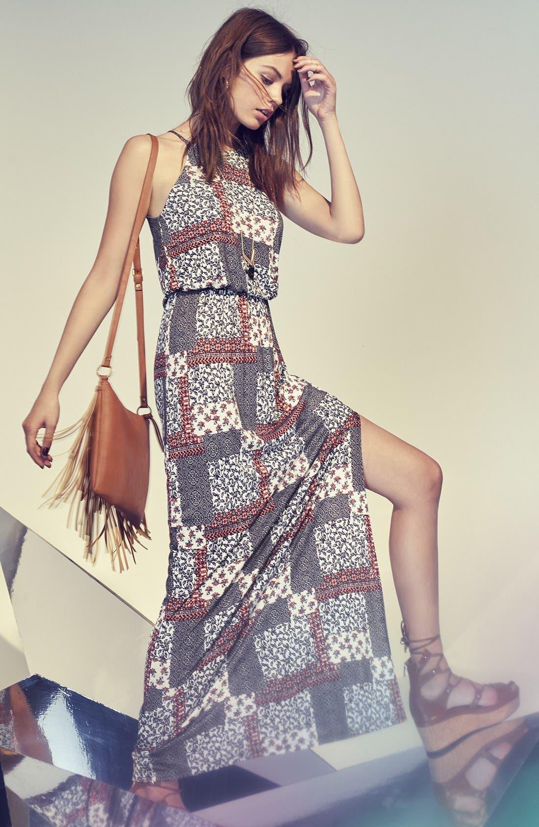 ,                             High Neck Maxi Dress,                             Alternate thumbnail 7, color,                             408