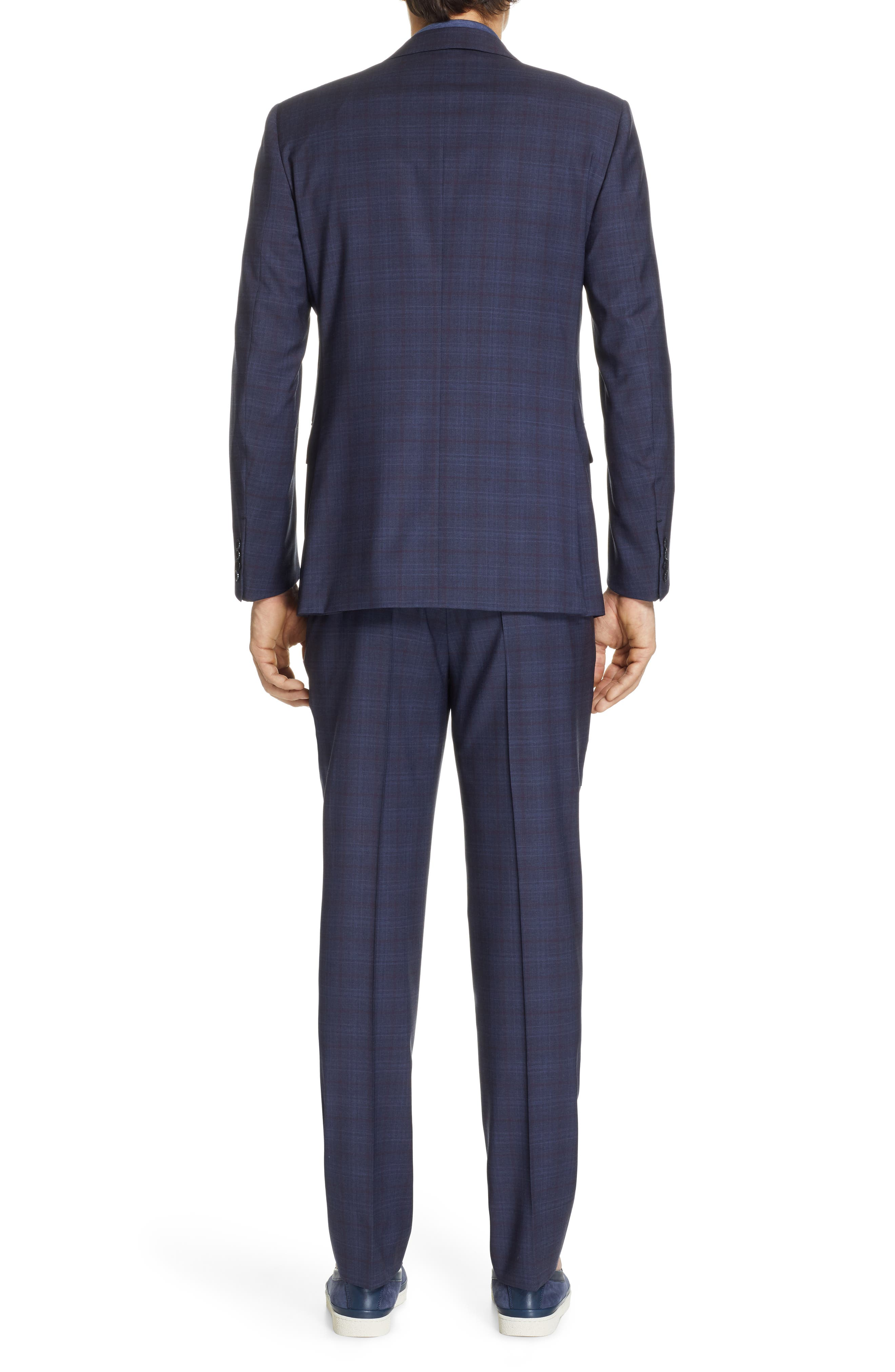 ,                             Milano Classic Fit Plaid Wool Suit,                             Alternate thumbnail 2, color,                             NAVY