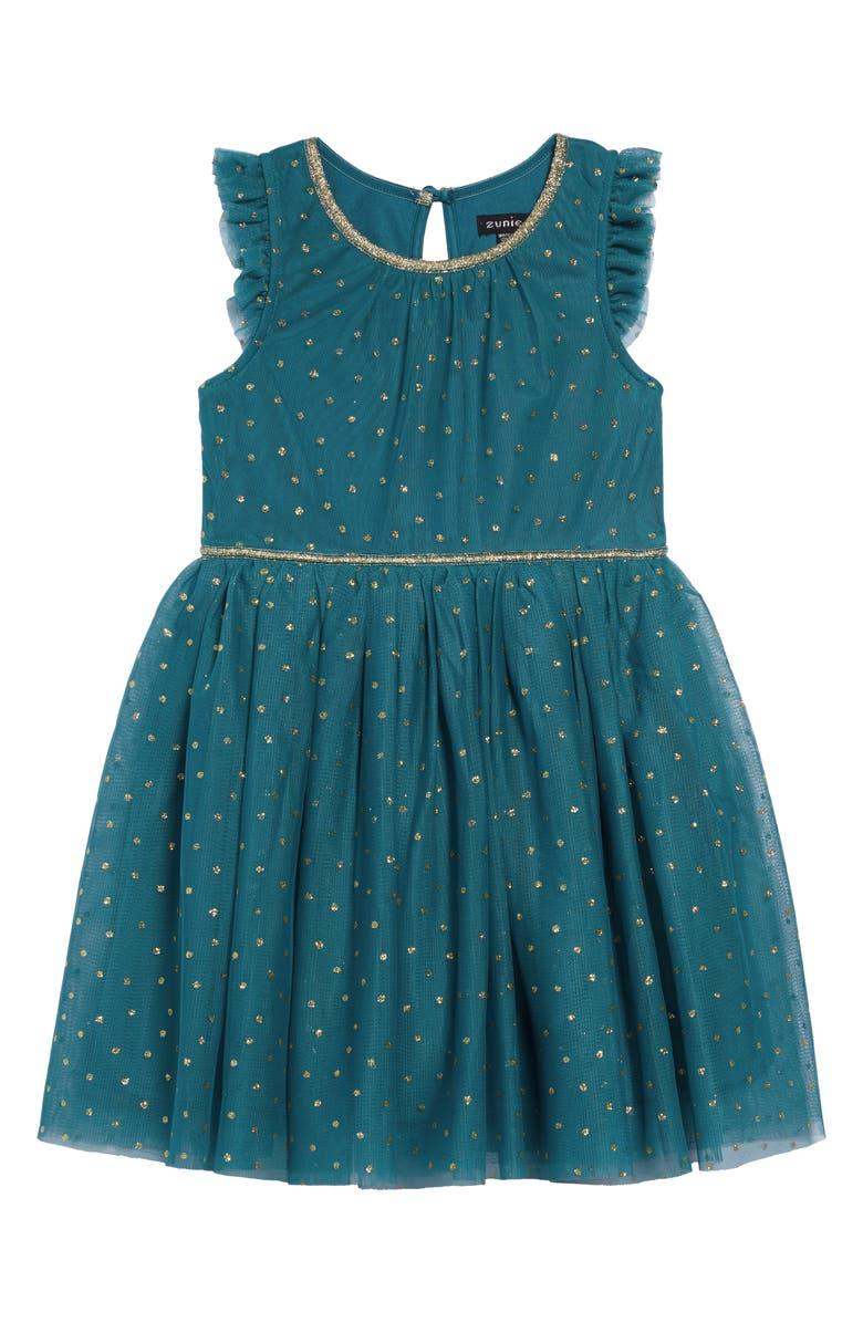 ZUNIE Glitter Dot Ruffle Sleeve Dress, Main, color, TEAL