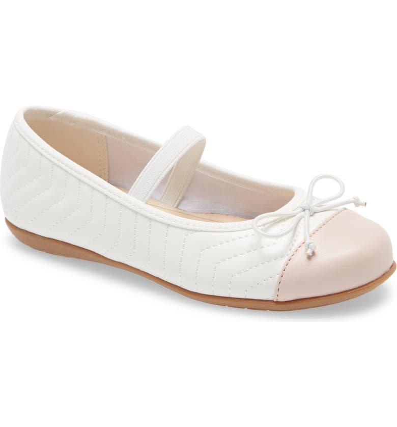 1901 Anna Cap Toe Ballet Flat, Main, color, WHITE FAUX LEATHER