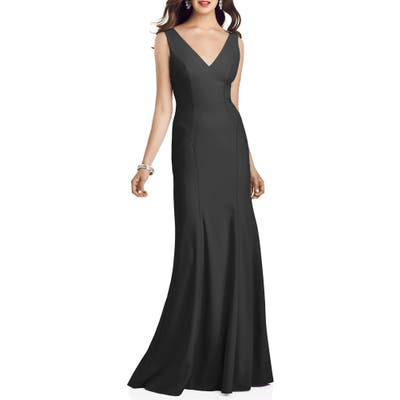 Dessy Collection Crepe Trumpet Gown, Black