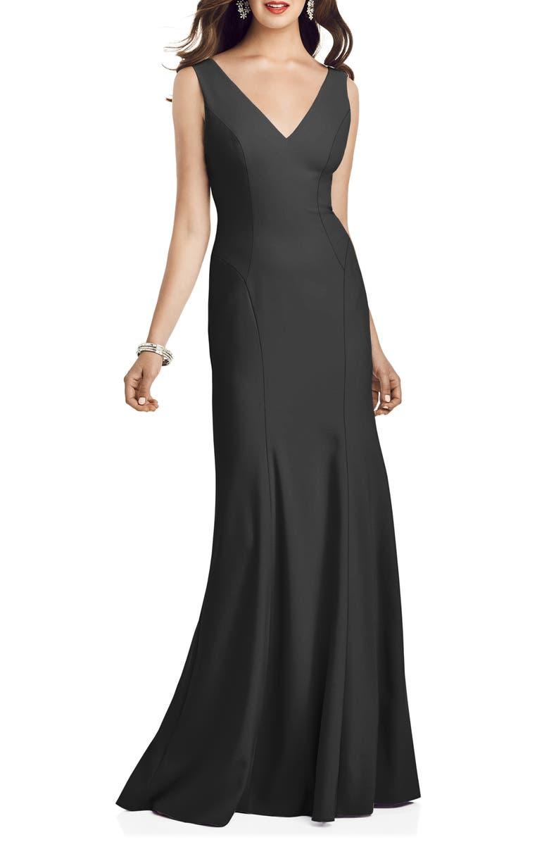 DESSY COLLECTION Crepe Trumpet Gown, Main, color, BLACK