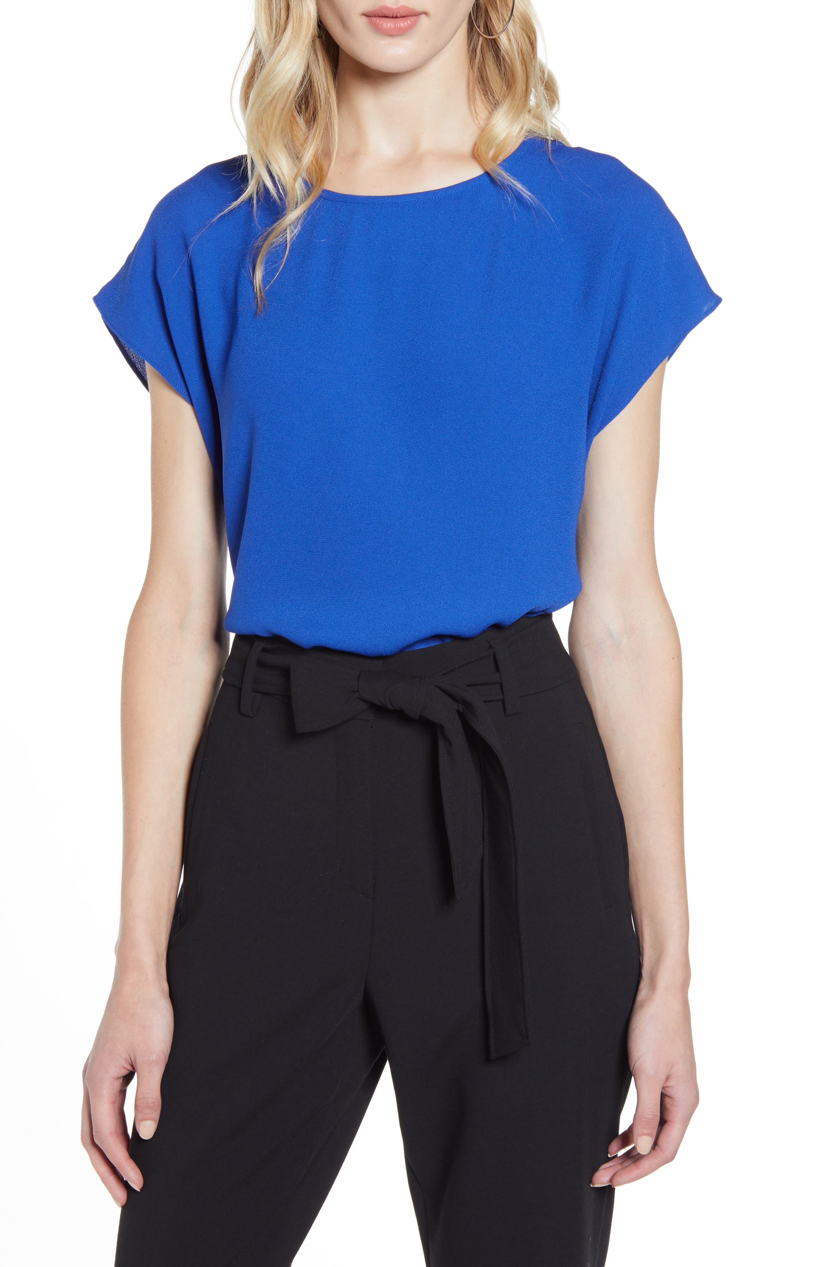 Halogen® Cap Sleeve Blouse (Regular & Petite)   Nordstrom