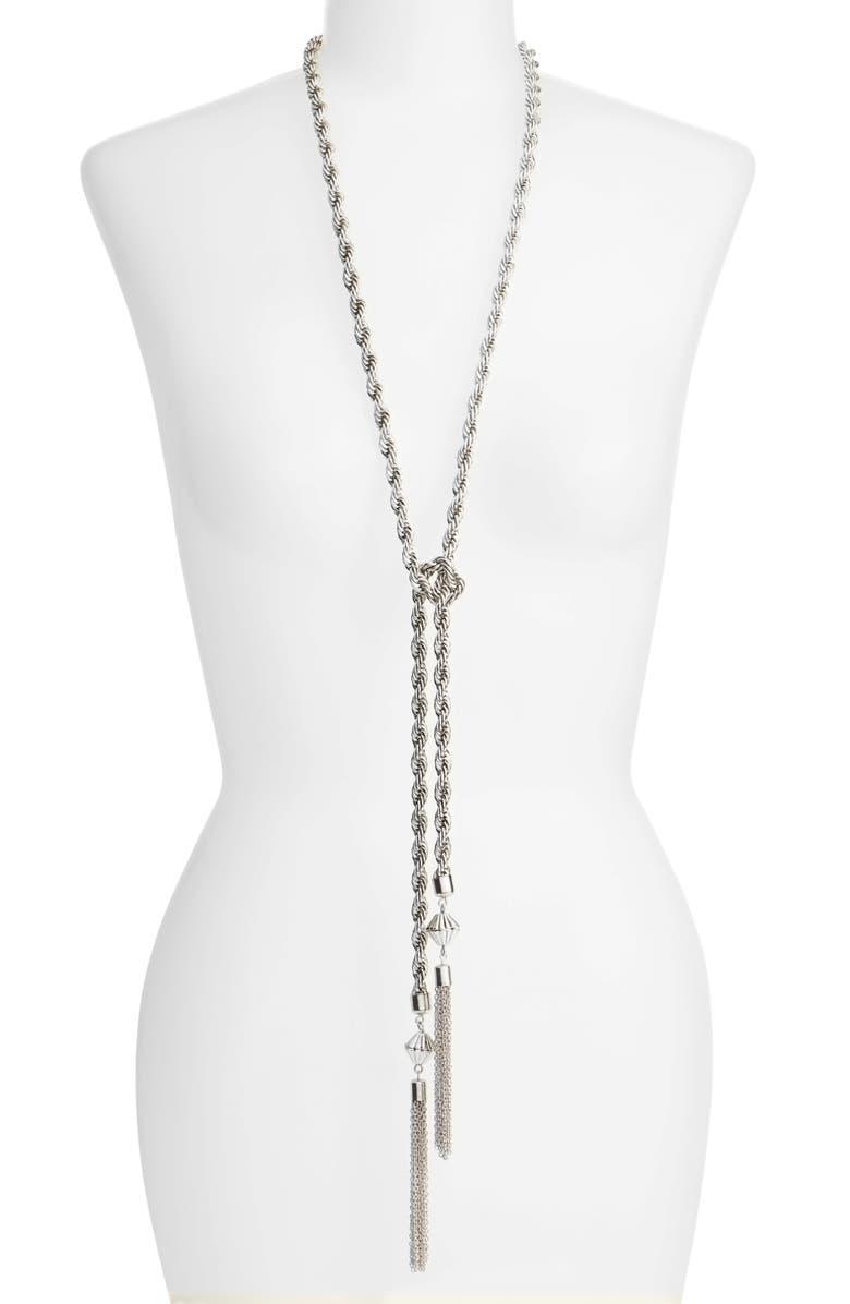 KARINE SULTAN Tassel Necklace, Main, color, SILVER