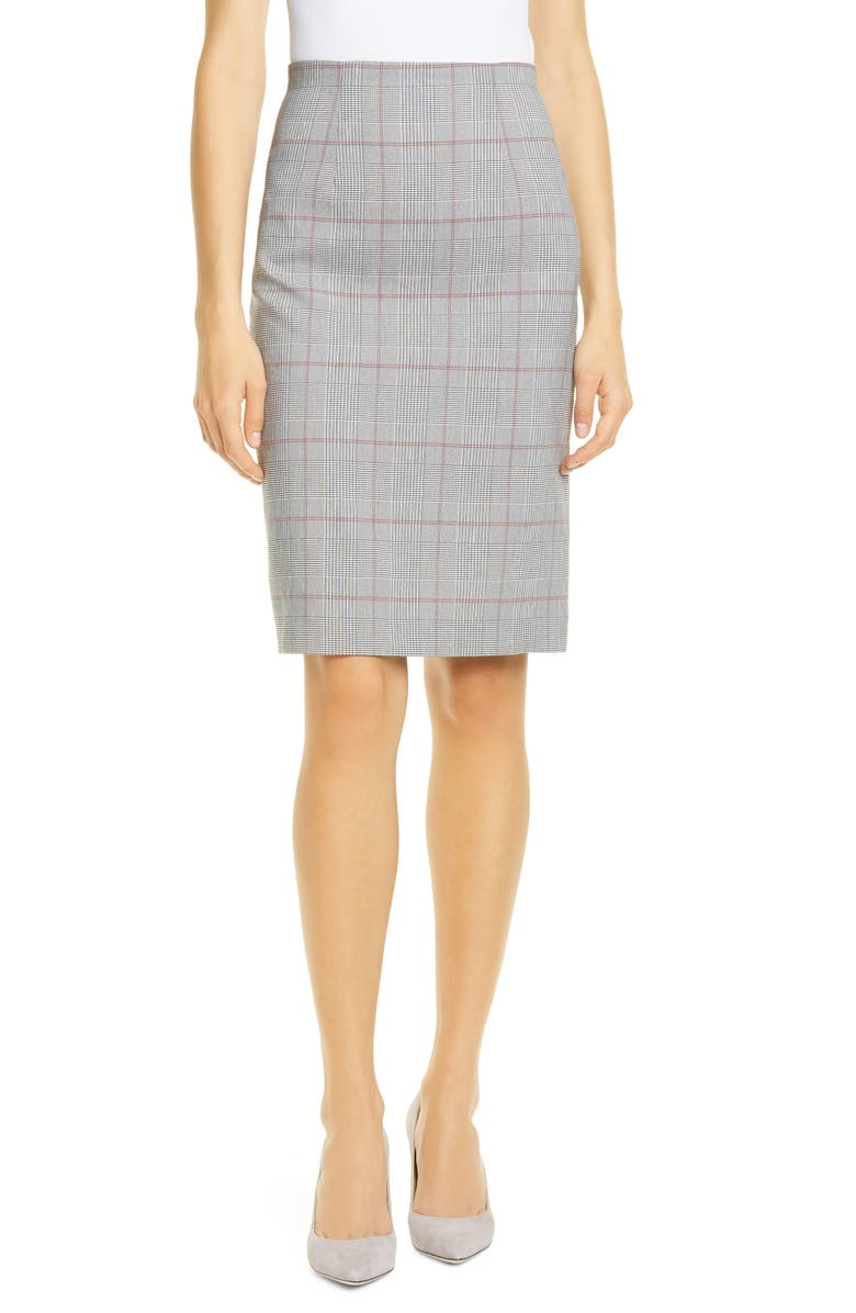 Tailored By Rebecca Taylor Summer Check Linen Blend Suit Skirt