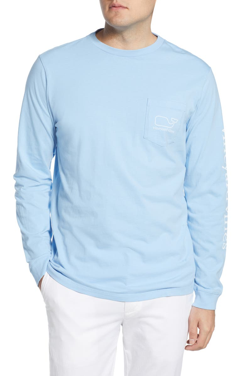 VINEYARD VINES Logo Whale Long Sleeve Pocket T-Shirt, Main, color, JAKE BLUE