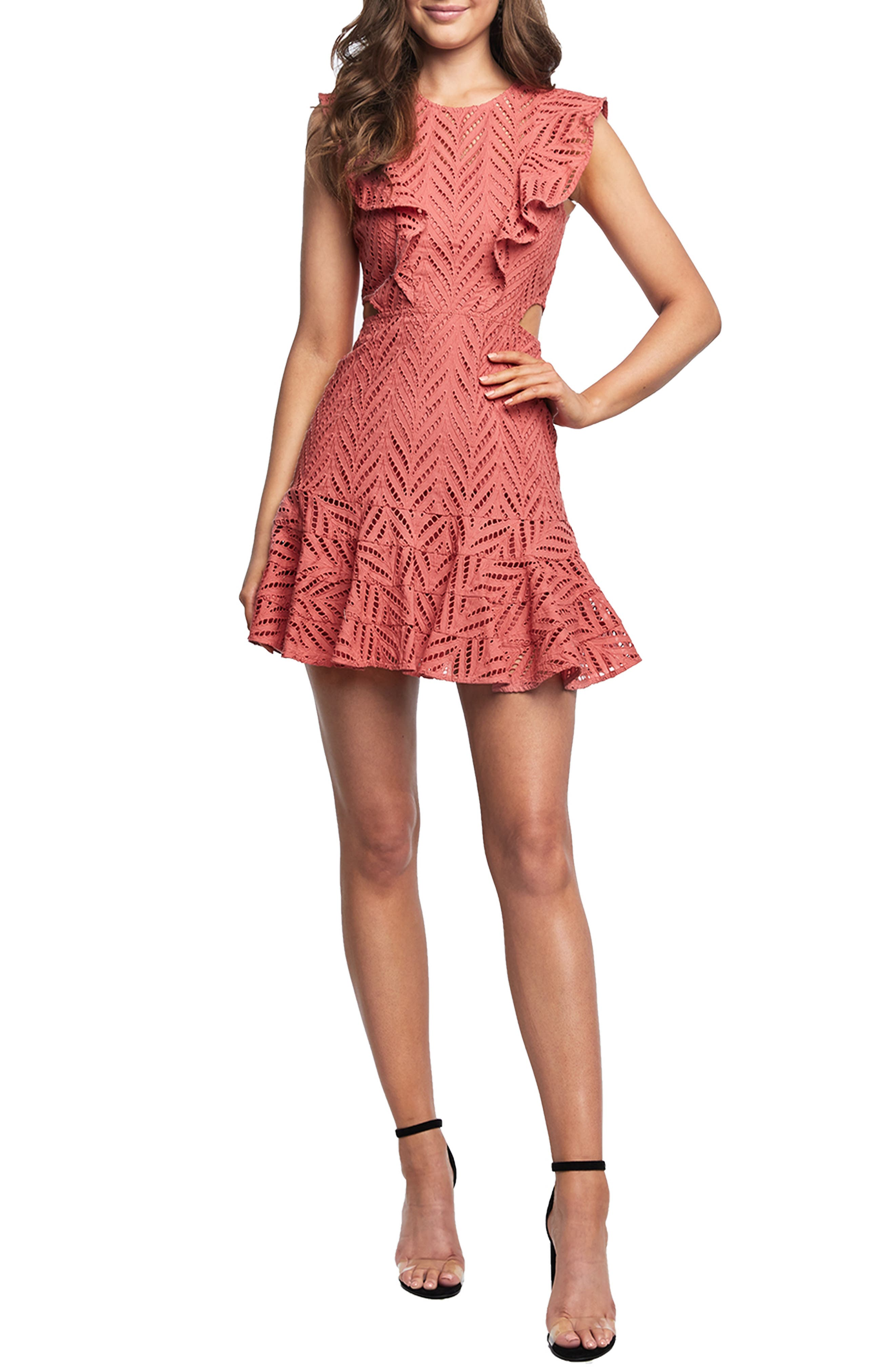 Bardot Aria Ruffle Cotton Eyelet Minidress, Pink