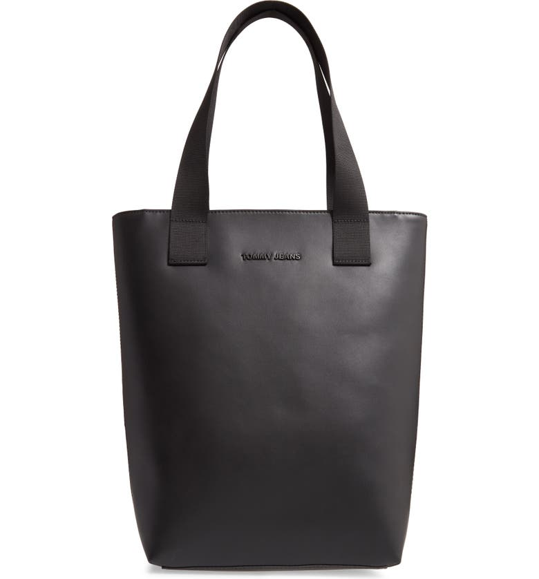 TOMMY JEANS Faux Leather Tote, Main, color, BLACK