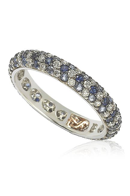 Image of Suzy Levian Sterling Silver Sapphire & Diamond Accent Pave Eternity Band