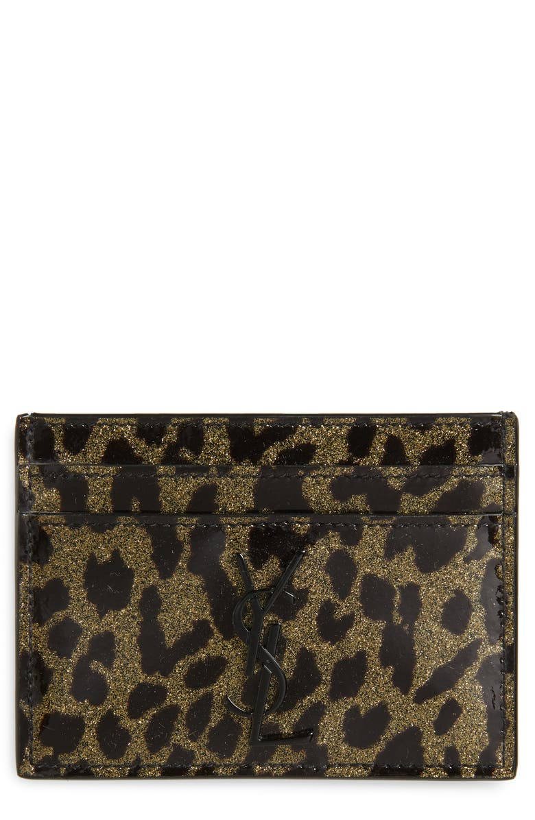 SAINT LAURENT Metallic Leopard Print Leather Card Case, Main, color, OR CLAR/ NOIR