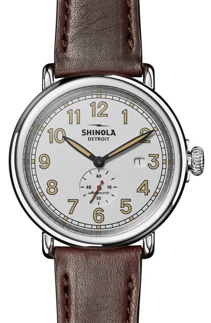 Shinola RUNWELL STATION AGENT AUTOMATIC LEATHER STRAP WATCH, 45MM