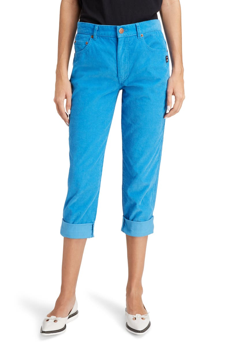 MARC JACOBS The Turn-Up Cuff Corduroy Jeans, Main, color, BLUE
