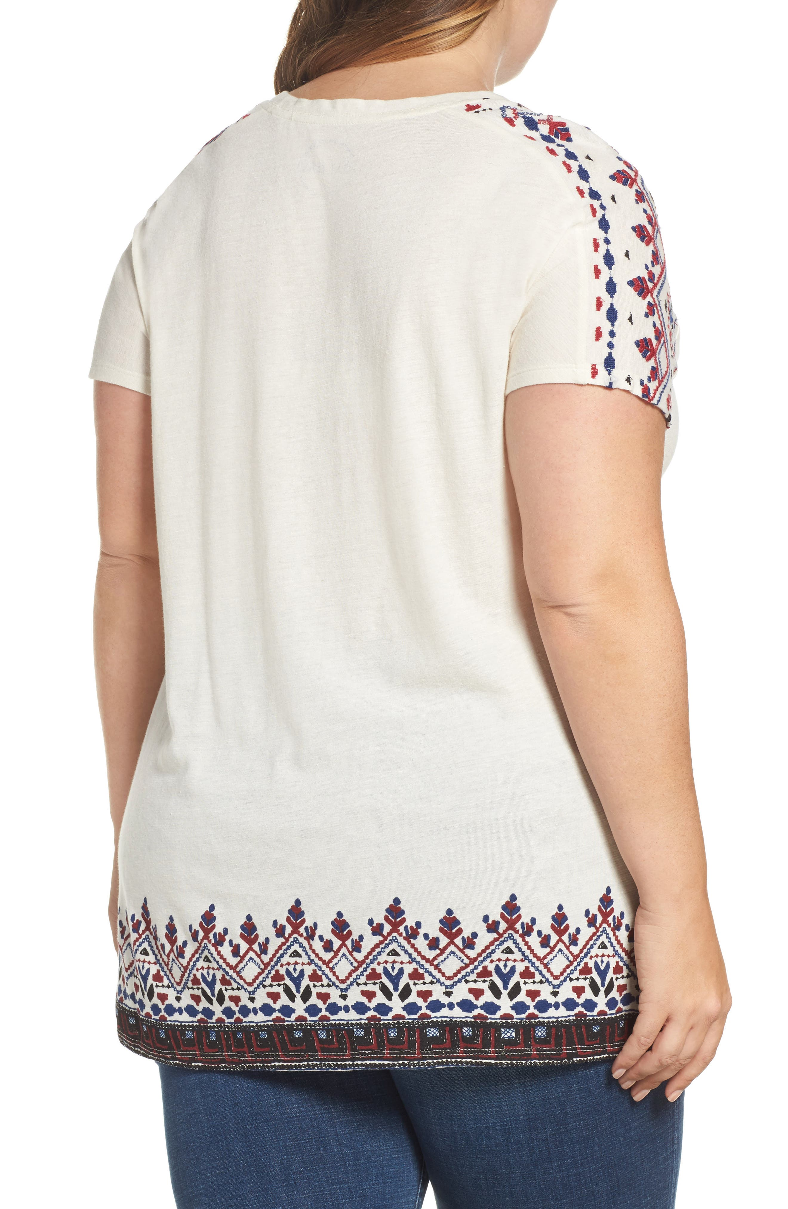 ,                             Embroidered Border Tee,                             Alternate thumbnail 2, color,                             100