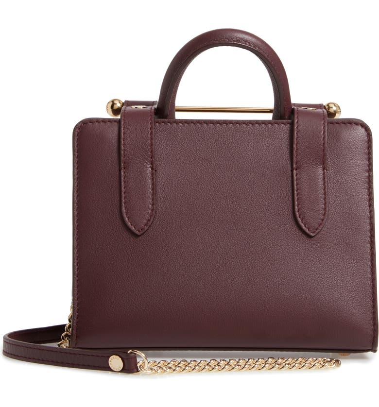 STRATHBERRY Nano Leather Tote, Main, color, BURGUNDY