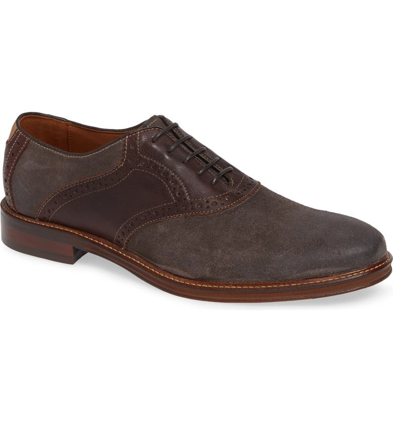 JOHNSTON & MURPHY Warner Saddle Shoe, Main, color, DARK GREY SUEDE