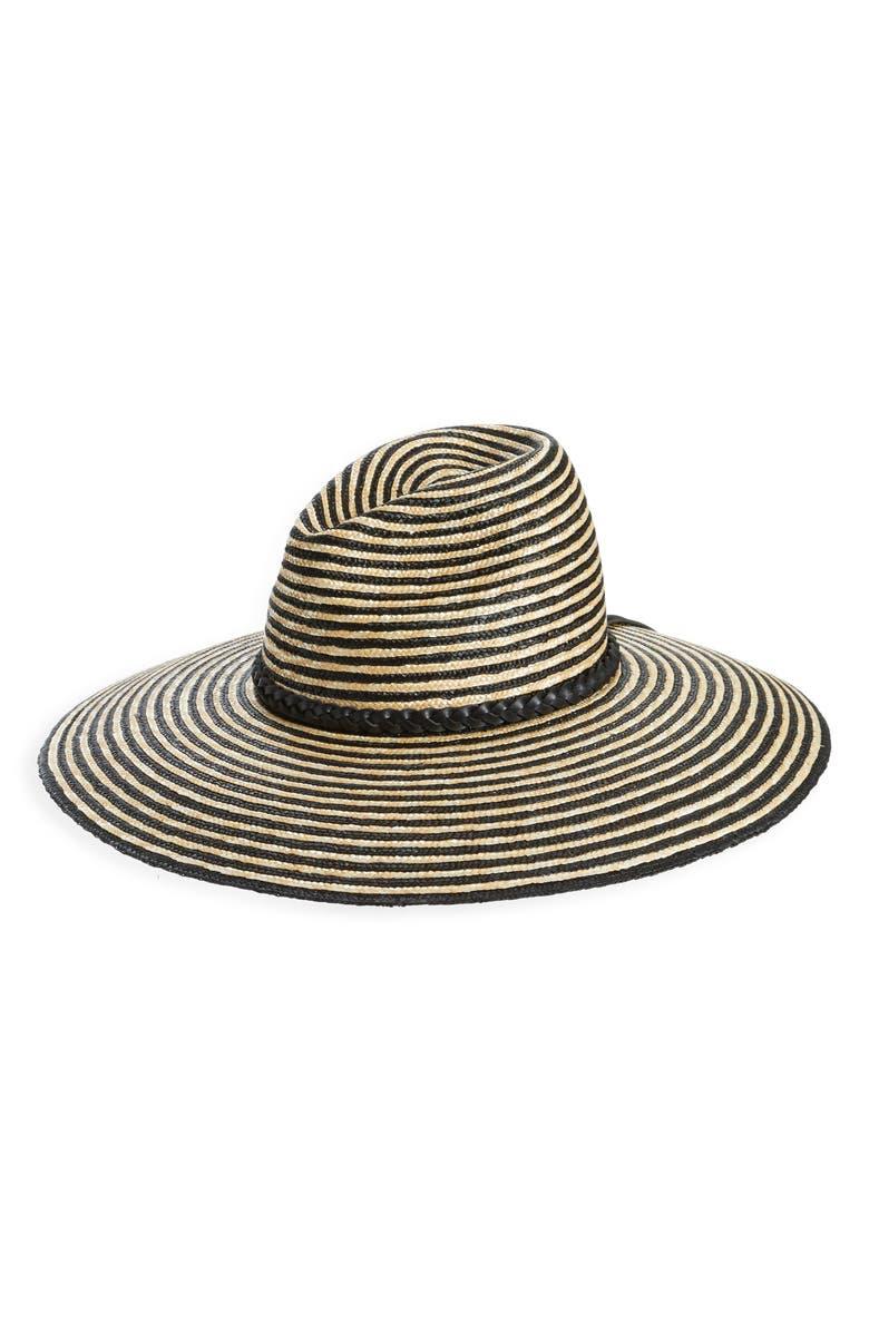 SAINT LAURENT Stripe Wide Brim Straw Hat, Main, color, SABLE/ NOIR