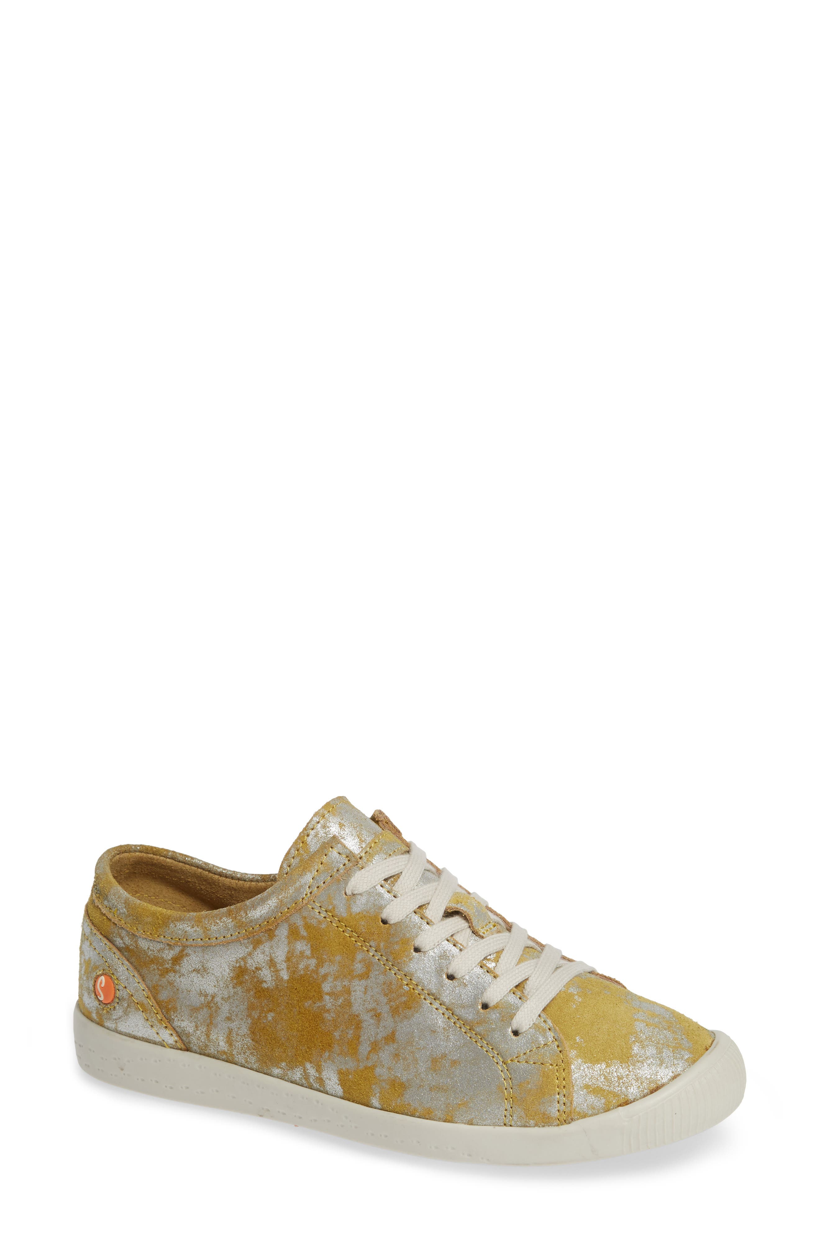 Softinos By Fly London Isla Distressed Sneaker - Yellow