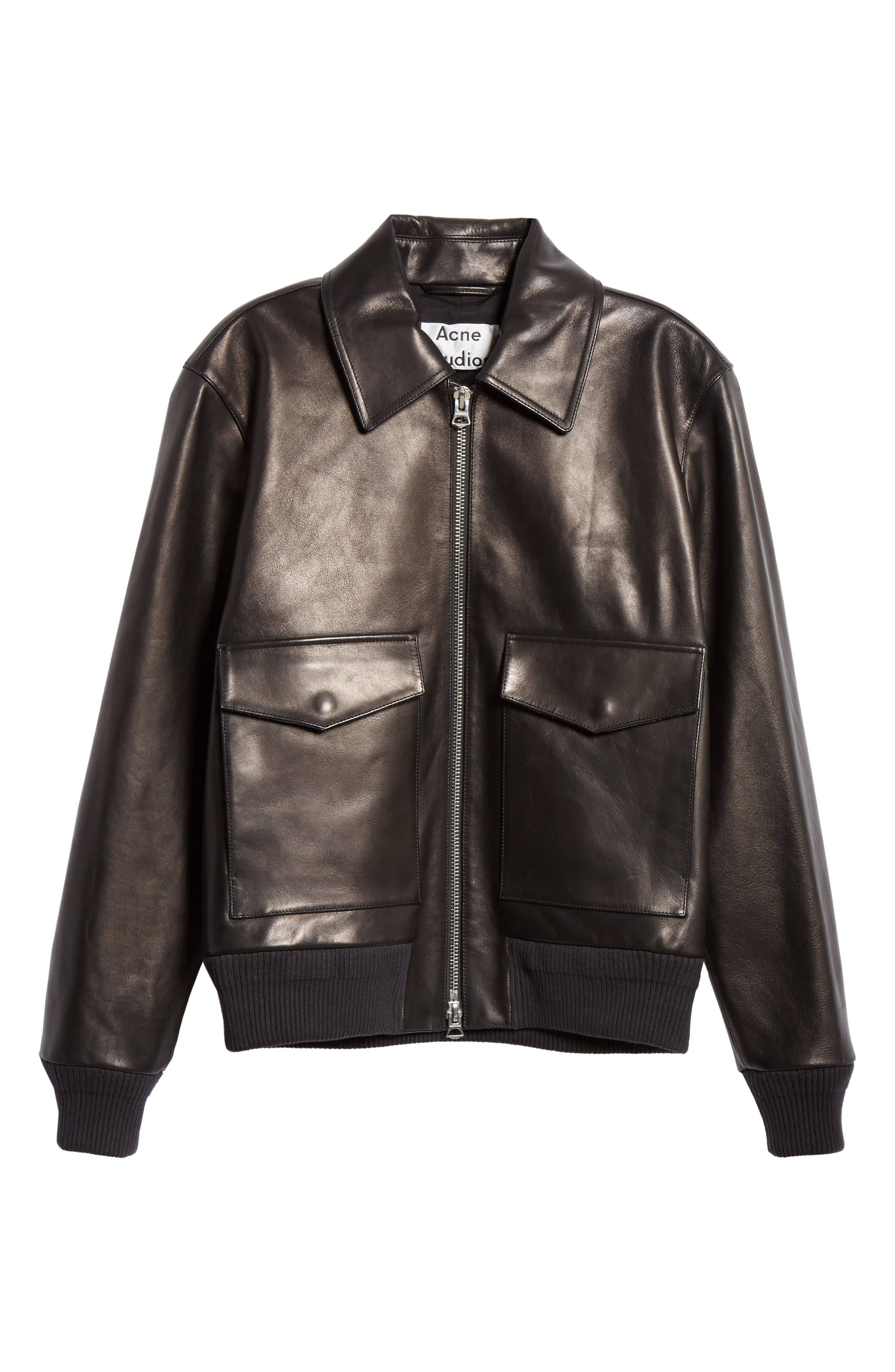 ,                             Lazlo Leather Bomber Jacket,                             Alternate thumbnail 6, color,                             BLACK