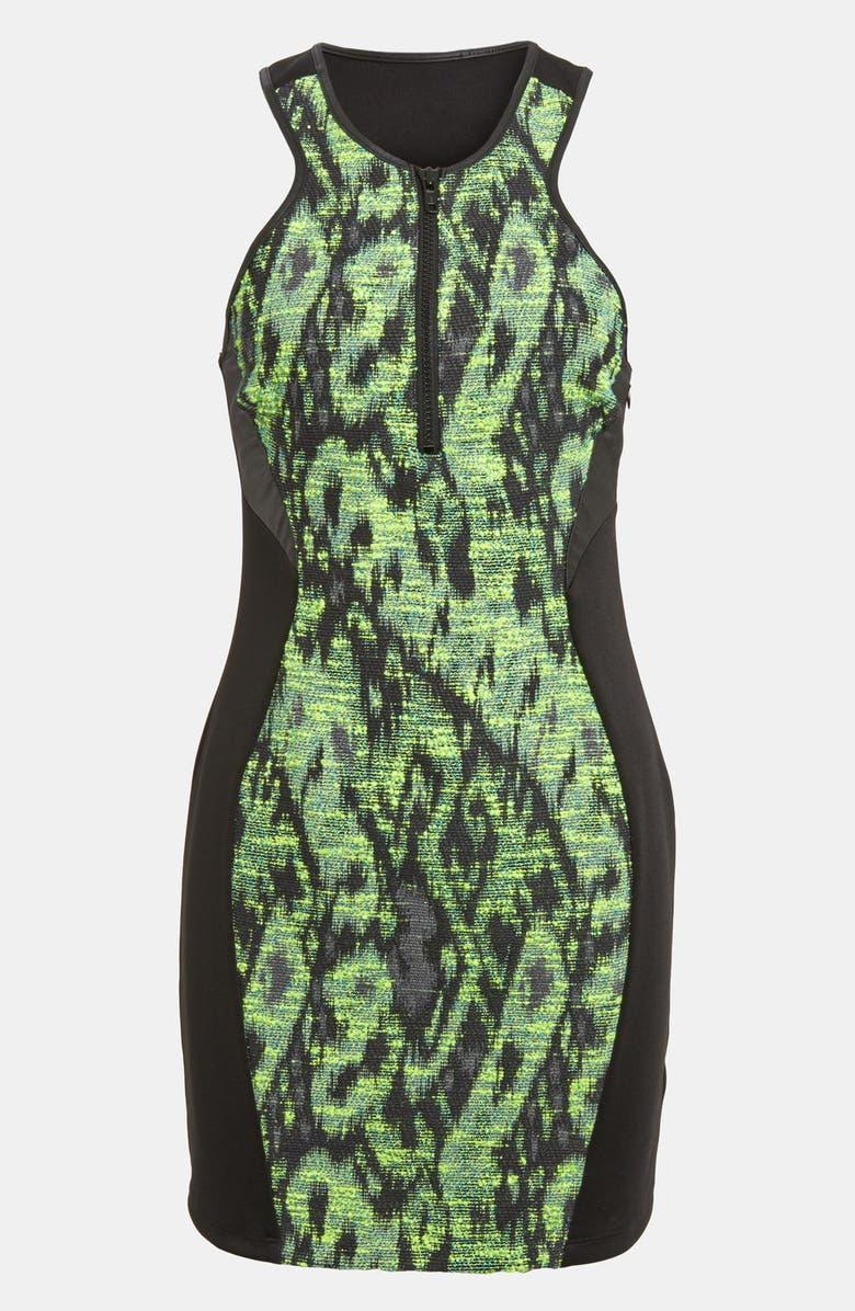 ASTR THE LABEL ASTR Tweed Panel Body-Con Scuba Dress, Main, color, 300