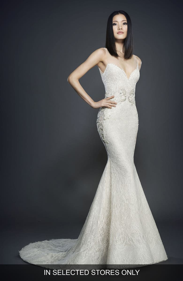 LAZARO Glitter Embellished Lace Gown, Main, color, IVORY