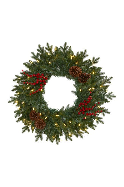 """Image of NEARLY NATURAL 24"""" Light-Up Green Pine Artificial Christmas Wreath"""