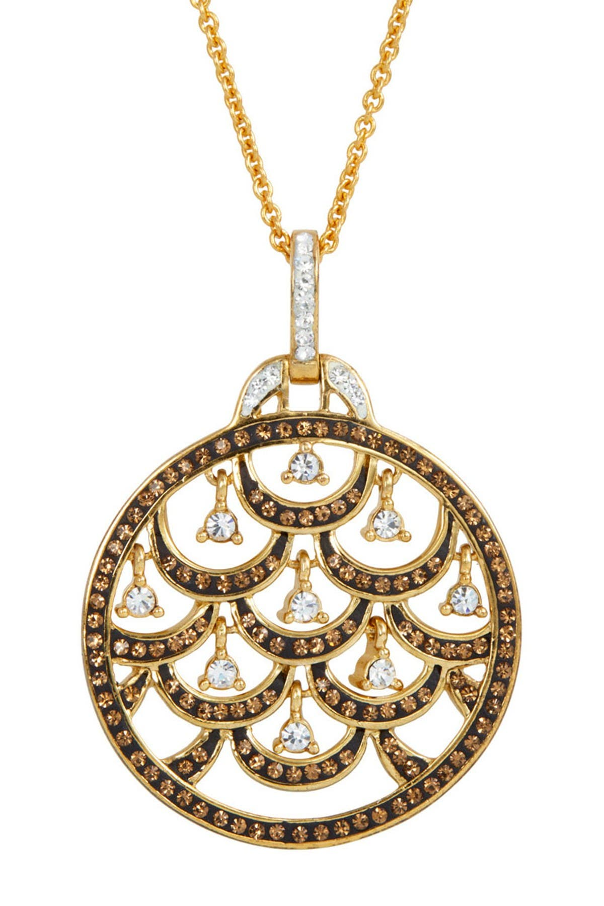 Image of Savvy Cie Dancing Crystal Medallion Pendant Necklace