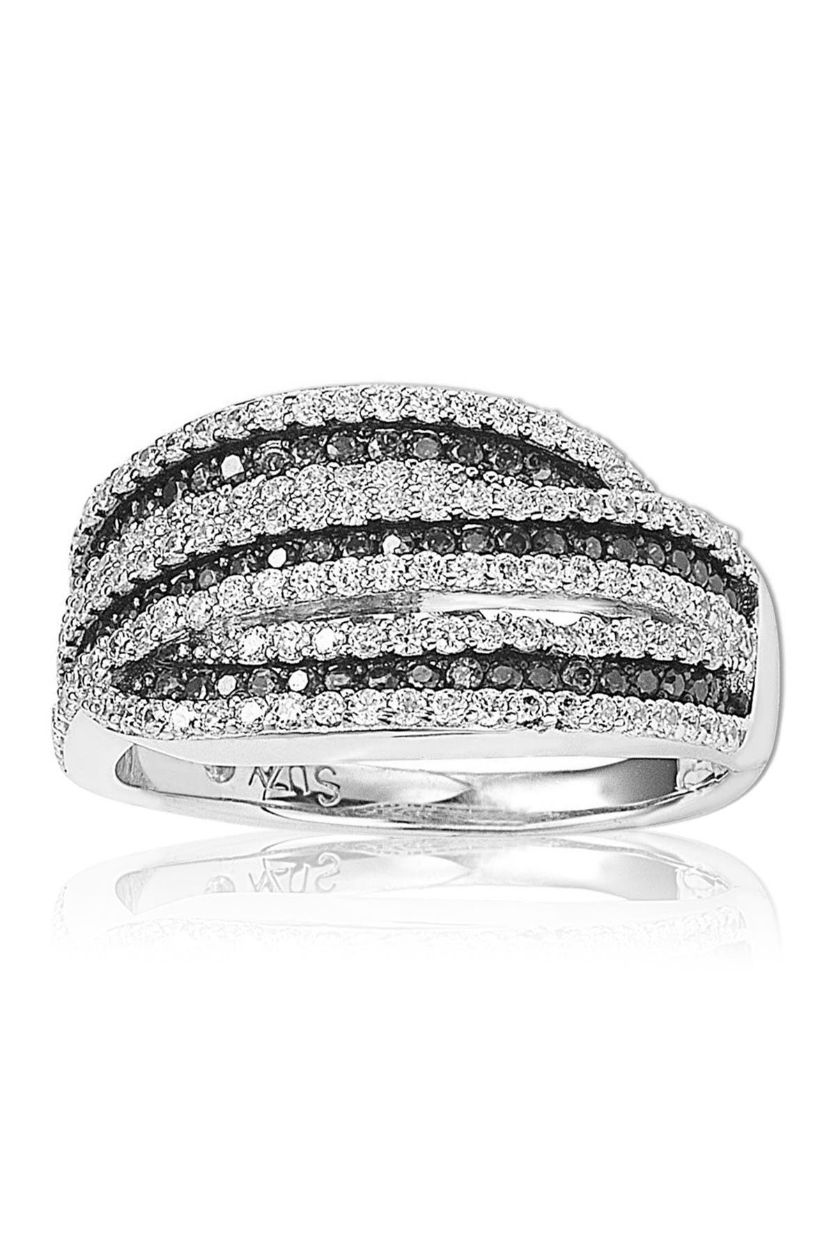 Image of Suzy Levian Sterling Silver Pave Set CZ Ring