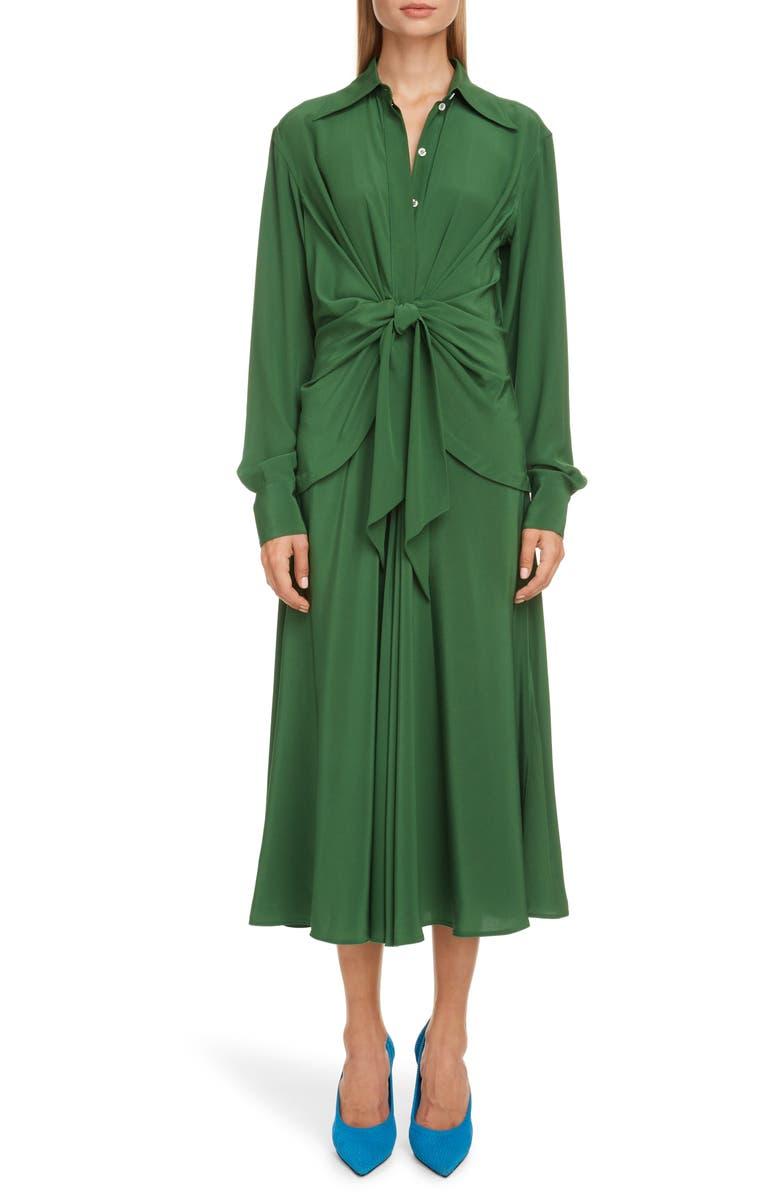 VICTORIA BECKHAM Tie Waist Long Sleeve Silk Crêpe de Chine Midi Shirtdress, Main, color, EMERALD