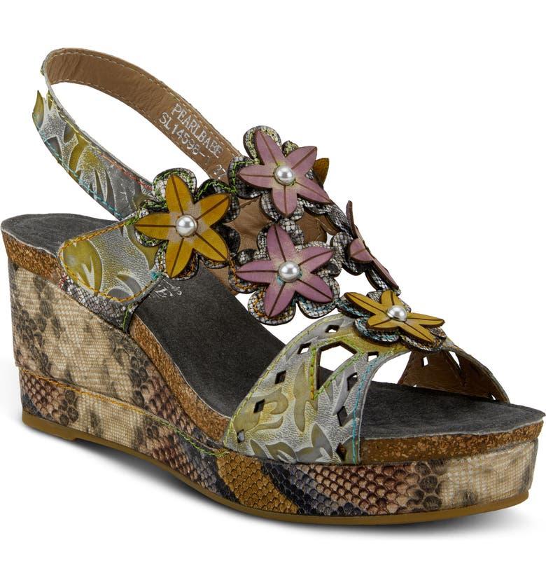 L'ARTISTE Pearlbabe Slingback Sandal, Main, color, OLIVE LEATHER