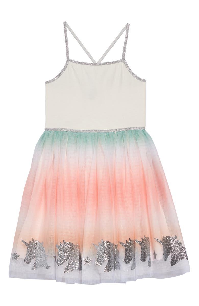 ZUNIE Ombré Unicorn Boarder Dress, Main, color, IVY/ RAINBW